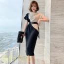 Dress Summer 2020 Apricot and black XL,S,M,L,2XL Middle-skirt singleton  Short sleeve commute Crew neck zipper Panel, zipper 30% and below other