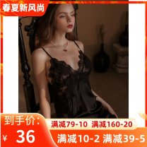 Nightdress Princess Oran camisole Short skirt sexy Solid color summer V-neck pajamas youth Ice silk Ice silk One piece More than 95% LL49 200g and below M80-110kg, l110-130kg