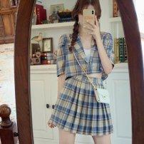 Square dance suit S,M,L,XL Suit top, pleated skirt, suit top + pleated skirt female Two piece set Short sleeve lattice Short skirt