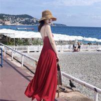 Dress Autumn 2020 Red, black M,L,S,XS,XL Mid length dress singleton  Sweet High waist Solid color Big swing