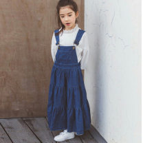 Dress Single blue skirt, blue skirt + white Long Sleeve T-shirt, single white Long Sleeve T-shirt, single light blue denim skirt female Other / other 165cm,160cm,130cm,120cm,150cm,140cm,110cm Cotton 95% other 5% spring and autumn Korean version Strapless skirt Solid color cotton Denim skirt Class B