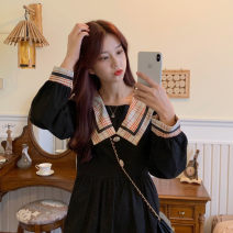 Women's large Winter 2020 black M【80-100】,L【100-120】,XL【120-140】,2XL【140-160】,3XL【160-180】,4XL【180-200】 singleton  commute easy moderate Socket Long sleeves Solid color Korean version Admiral other Three dimensional cutting shirt sleeve 25-29 years old Three dimensional decoration Medium length