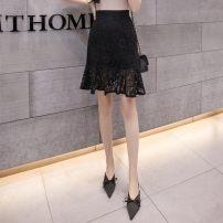 skirt Summer 2020 M (90-105 kg), l (105-115 kg), XL (115-125 kg), 2XL (125-135 kg), 3XL (135-160 kg) Black, white, red Short skirt A-line skirt Hollow, lace