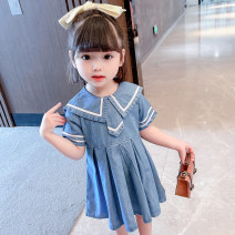 Dress female Dalio 80cm 90cm 100cm 110cm 120cm 130cm Other 100% summer Naval style Short sleeve Solid color Cotton denim Pleats Summer 2021 12 months, 6 months, 9 months, 18 months, 2 years, 3 years, 4 years, 5 years, 6 years Chinese Mainland Zhejiang Province Huzhou City