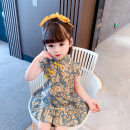 cheongsam 80 90 100 110 120 130 Red green flower Qipao skirt picture color 2101 Pink Other 100% Dalio No model summer Big flower other Summer 2021 12 months, 6 months, 9 months, 18 months, 2 years, 3 years, 4 years, 5 years, 6 years Chinese Mainland