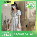 Dress Summer 2021 Love blue S,M,L Short skirt singleton  Short sleeve Sweet V-neck Loose waist other other Princess Dress puff sleeve straps 18-24 years old Bow tie 30% and below other polyester fiber solar system