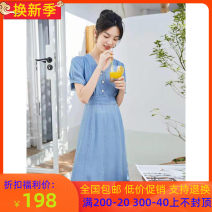 Dress Summer 2021 Denim blue 155/80A,160/84A,165/88A longuette singleton  Short sleeve commute V-neck High waist Solid color Socket A-line skirt routine 25-29 years old Type A Eifni / Evely Button 1C4992061 91% (inclusive) - 95% (inclusive) Denim cotton