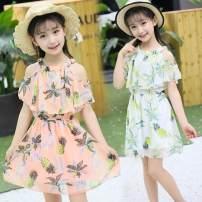 Dress female Dijiameng Polyester 100.0% summer leisure time Skirt / vest Broken flowers other Cake skirt Class B Spring 2021 3 months 12 months 6 months 9 months 18 months 2 years 3 years 4 years 5 years 6 years 7 years 8 years 9 years 10 years 11 years 12 years 13 years 14 years old