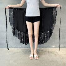 skirt Summer 2020 Medium length skirt High waist Ruffle Skirt commute More than 95% Ruffle, lace, asymmetric, strap, stitching, one piece Abstract pattern polyester fiber 18-24 years old Type A G0528 Chiffon Average size (80-125kg)