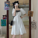 Dress Summer 2021 white S M L Middle-skirt singleton  Short sleeve commute square neck Elastic waist other 18-24 years old Beautiful people in the North literature DFGH8932 More than 95% other Other 100%