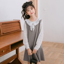 Dress female Willow green and orange yellow Other 100% spring and autumn Korean version Long sleeves Solid color cotton Pleats Class B Spring 2021 Chinese Mainland Zhejiang Province Huzhou City