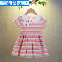 Dress female Cotton 95.0% others 5.0% summer Korean version Short sleeve stripe cotton A-line skirt Class B Spring 2021 3 months 12 months 6 months 9 months 18 months 2 years 3 years 4 years 5 years 6 years 7 years 8 years 9 years 10 years 11 years 12 years 13 years 14 years old Chinese Mainland