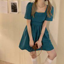 Women's large Summer 2021 Malachite blue S,M,L singleton  commute Self cultivation Short sleeve Retro square neck 18-24 years old Short skirt