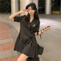 Women's large Summer 2021 black S,M,L singleton  commute easy Short sleeve Solid color Retro V-neck 18-24 years old Short skirt