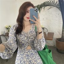 Women's large Summer 2021 Decor S,M,L singleton  commute Self cultivation Long sleeves Solid color Retro square neck other 18-24 years old Short skirt