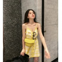 Dress Summer 2021 yellow S,M,L,XL Short skirt singleton  Sleeveless commute V-neck High waist Solid color Socket A-line skirt routine Others 18-24 years old Type A Korean version 81% (inclusive) - 90% (inclusive) other other