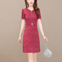 Women's large Summer 2021 Black Burgundy Navy M L XL XXL XXXL XXXXL XXXXXL Dress singleton  commute Self cultivation thin Socket Short sleeve Korean version V-neck Medium length polyester Three dimensional cutting routine Tongwanluo 35-39 years old 96% and above Medium length Polyester 100% other