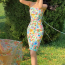 Dress Spring 2021 Full of spring at the end of April XS,S,M,L Short skirt singleton  Sleeveless Sweet One word collar High waist Decor Pencil skirt camisole Type X Backless, lace up, tridimensional decoration, Sequin, printing YT21X034 More than 95% polyester fiber Countryside