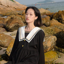 Dress Autumn of 2019 Black and white S,M,L,XL,2XL longuette singleton  Long sleeves commute Admiral High waist Solid color Socket A-line skirt raglan sleeve Others 18-24 years old Type A Retro Thread, button