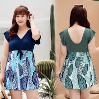 one piece  Other Extra large 150-200 Jin Green, blue, collection plus purchase priority delivery No chest pad Z355 female Short sleeve Casual swimsuit