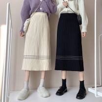 skirt Winter 2020 S [suggested 80-95 kg], m [suggested 95-105 kg], l [suggested 105-115 kg], XL [suggested 115-130 kg], 2XL [suggested 130-145 kg] Black, apricot, coffee, grey longuette commute High waist A-line skirt Solid color knitting other Line decoration, stitching Korean version