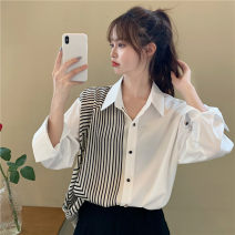 shirt White, black S,M,L,XL Summer 2021 other 30% and below Long sleeves commute Medium length Polo collar Single row multi button routine other 18-24 years old Korean version Splicing