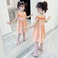 Dress Orange female 110cm 120cm 130cm 140cm 150cm 160cm Other 100% summer Korean version stripe other A-line skirt Class B Summer 2021 5 years old, 6 years old, 7 years old, 8 years old, 9 years old, 10 years old, 11 years old, 12 years old, 13 years old, 14 years old