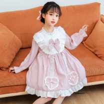 Dress Blue, pink female Other / other 110cm,120cm,130cm Other 100% spring and autumn Korean version Short sleeve cotton A-line skirt C013A1 Class B Six, seven, eight, nine, ten, eleven, twelve, thirteen, fourteen