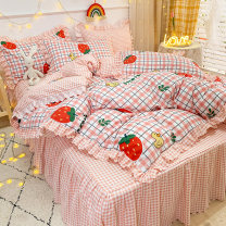 Bedding Set / four piece set / multi piece set cotton Quilting Plants and flowers 128x68 Other / other cotton 4 pieces 40 Bed sheet, bed skirt Qualified products Princess style 95% (inclusive) - 100% (exclusive) cotton twill Reactive Print  Thermal storage