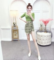 Dress Spring 2020 Picture color S,M,L Short skirt Two piece set Short sleeve commute V-neck High waist Solid color zipper Princess Dress Princess sleeve Others 18-24 years old Type A Other / other Korean version 81% (inclusive) - 90% (inclusive) other