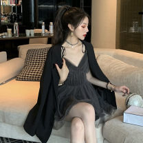 Cosplay women's wear suit goods in stock Over 14 years old Dark grey gauze skirt, black suit comic S,L,M