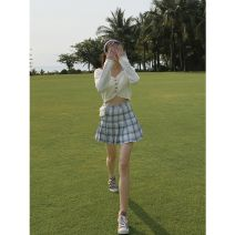 skirt Summer 2020 XS,S,M,L Lavender plaid skirt Short skirt Retro High waist High waist skirt lattice Type A 18-24 years old Other / other