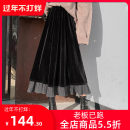 skirt Winter of 2019 longuette commute High waist Pleated skirt Solid color Type A corduroy Other / other Korean version