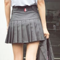 skirt Spring 2020 XS,S,M,L,XL,2XL Black, dark grey Short skirt Versatile High waist Pleated skirt Solid color A7488 Other / other zipper