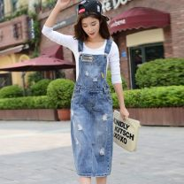 Dress Spring 2020 blue S,M,L,XL,2XL Mid length dress singleton  Sweet other Solid color One pace skirt other straps 25-29 years old Type H Beiqianni Hand abrasion More than 95% other college