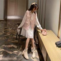 Parent child fashion Pink vest, white skirt, pink vest + white skirt other female Other / other S,M,L See description Solid color 12 months