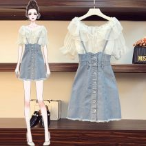 Women's large Summer 2020 Color chiffon shirt + denim strap skirt, White Chiffon shirt + denim strap skirt L [100-120 Jin recommended], XL [120-140 Jin recommended], 2XL [140-160 Jin recommended], 3XL [160-180 Jin recommended], 4XL [180-200 Jin recommended] Other oversize styles Two piece set commute