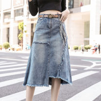 skirt Spring 2021 S M L XL XXL XXXL 4XL 5XL longuette commute High waist A-line skirt Solid color Type A 25-29 years old 31% (inclusive) - 50% (inclusive) Denim Huilinqing polyester fiber pocket Korean version 201g / m ^ 2 (including) - 250G / m ^ 2 (including)