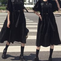 Dress Summer 2020 Black dress with strap S [recommended 95 kg], m [recommended 95-105 kg], l [recommended 105-115 kg], XL [recommended 115-125 kg], 2XL [recommended 125-135 kg] Mid length dress singleton  Short sleeve Other Splicing