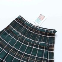 skirt Summer of 2018 XS,S,M,L green Short skirt Sweet Pleated skirt lattice Type A 18-24 years old other cotton zipper