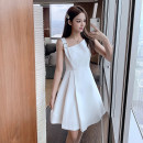 Dress Summer 2021 White bean paste powder S M L XL Middle-skirt singleton  Sleeveless commute square neck middle-waisted Solid color Socket A-line skirt other Others 18-24 years old Type A Kivoday Korean version Three dimensional decoration More than 95% other other Other 100%