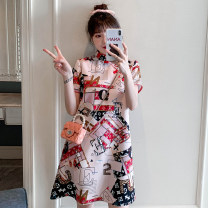 Middle aged and old women's wear Summer 2021 Pink M L XL XXL 3XL 4XL ethnic style 40-49 years old Socket Luxury dress shop other Other 100% 96% and above