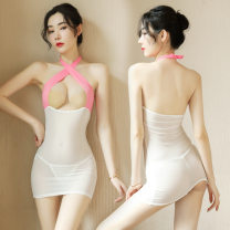 Nightdress Other / other transparent Average size sexy Sleeveless pajamas UltraShort  summer Solid color youth V-neck Polyester (polyester) Hollowing out More than 95% polyester fiber 200g and below