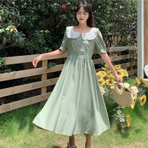 Dress Summer 2021 Red, green S,M,L,XL Mid length dress singleton  Long sleeves commute High waist Solid color Socket A-line skirt routine 18-24 years old Type A More than 95% cotton