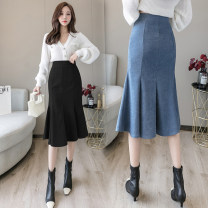 skirt Spring 2021 S M L XL Blue black Mid length dress commute High waist Ruffle Skirt Solid color Type O 25-29 years old FJN0224-64 More than 95% other Pink girl other zipper Korean version Other 100%