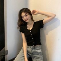 T-shirt Black, yellow, purple S,M,L Summer 2021 Short sleeve V-neck Self cultivation have cash less than that is registered in the accounts routine commute other 71% (inclusive) - 85% (inclusive) 18-24 years old Korean version originality Solid color 0663-zx Tie dyeing, splicing, Auricularia auricula