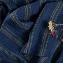 Fabric / fabric / handmade DIY fabric flax Waltz yarn dyed linen 0.5 meter price 1 meter beat 2 Loose shear stripe Yarn dyed weaving clothing Countryside 100%