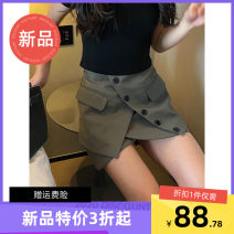 skirt Autumn 2020 S,M,L grey Short skirt commute High waist A-line skirt Solid color Type A polyester fiber zipper