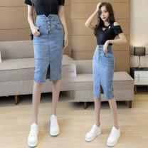 skirt Spring 2021 S,M,L,XL,2XL Single T-shirt, skirt Mid length dress commute High waist skirt Solid color Type H 18-24 years old R6593 51% (inclusive) - 70% (inclusive) Denim cotton Korean version