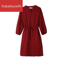 Women's large Winter 2020 Light blue and jujube red 1XL / 2XL (loose version recommended 130-170kg) 3XL / 4XL (loose version recommended 170-240kg) stand collar cotton 033G03kw019 nakabayashi Triacetate fiber (triacetate fiber) 100%